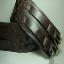 Brown Women's Copper Buckle Genuine Top Cowhide Knitted Leather Belt