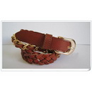 Pin Buckle Copper Chain Women's Genuine Top Cowhide Knitted Leather Belt