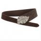 Beaded Leaves Shape Buckle Fashion PU Durable Women Belts