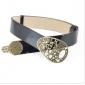 Bronze Hollow Buckle Patent Leather Durable Dress Belts