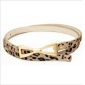 Horse Fur Leather Leopard Thin Alloy Bow Buckle Classic Belts