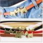 Pure Color Cute Automatic Buckle PU Belts