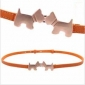 Double Loop Buckle Orange Alloy head Women Belts